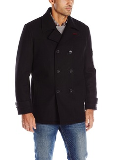 IZOD Men's Double Breasted Wool Peacoat  Large