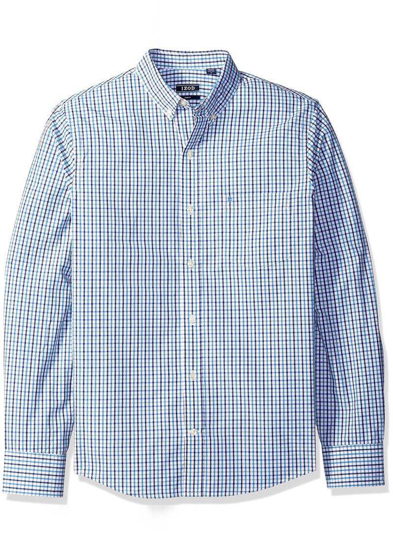 IZOD Men's Essential Slim Tattersall Long Sleeve Shirt