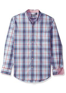 IZOD Men's Essential Check Long Sleeve Shirt (Regular & Slim Fit) True red