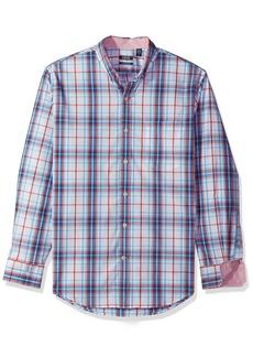 IZOD Men's Essential Check Long Sleeve Shirt (Regular & Slim Fit) True red