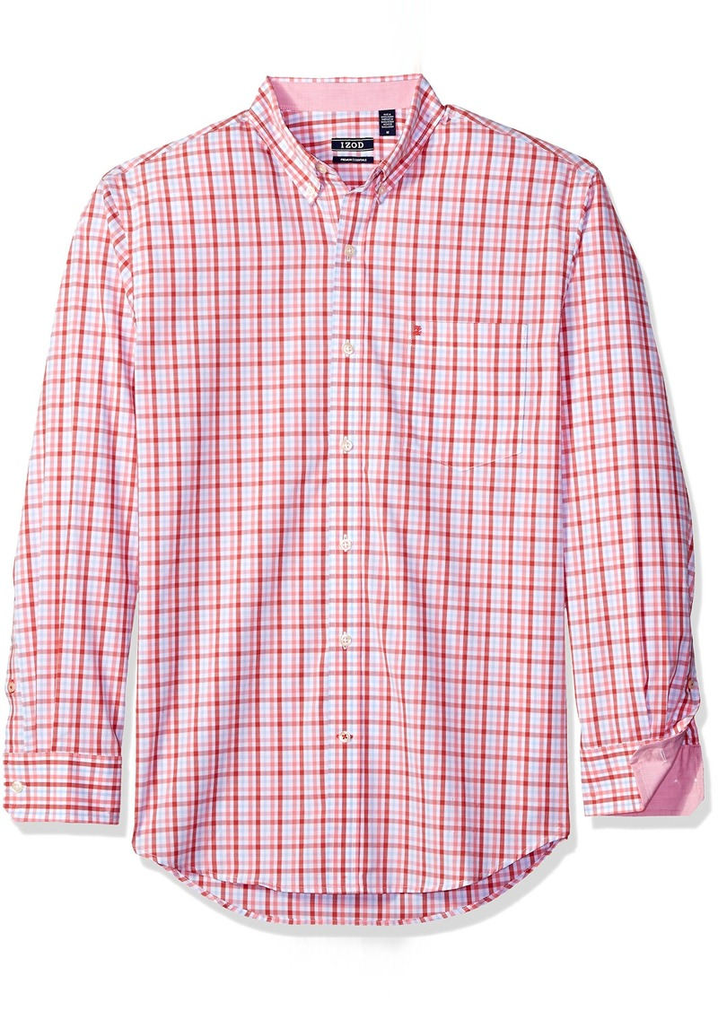 IZOD Men's Essential Tattersal Long Sleeve Shirt saltwater red