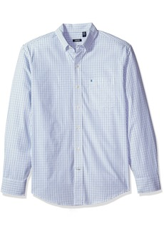 IZOD Men's Essential Tattersal Long Sleeve Shirt Blue Revival