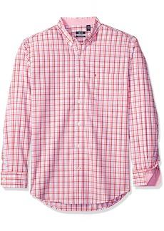 IZOD Men's Essential Tattersal Long Sleeve Shirt saltwater red