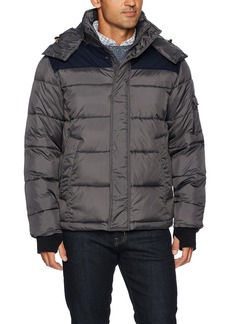 IZOD Men's Insulated Puffer Jacket with Removable Hood  S
