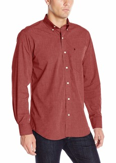 IZOD Men's Long Sleeve Performance Stretch Casual Button Down Shirt (Regular and Slim Fit) Biking red