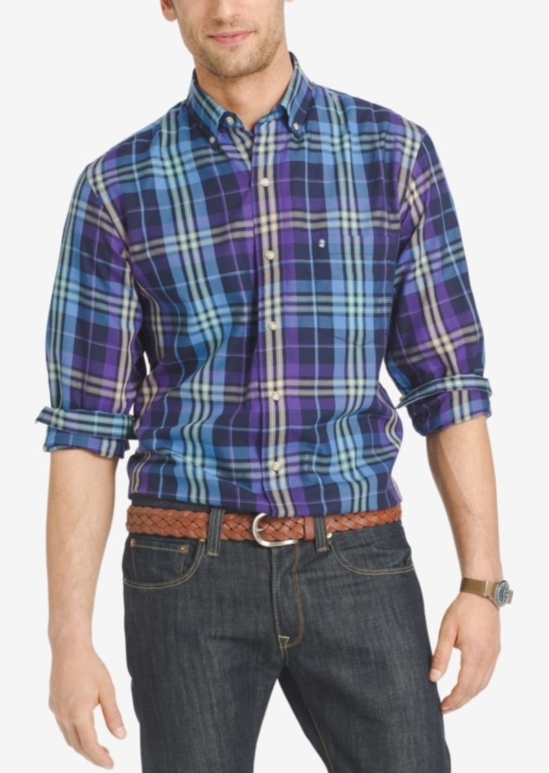 Izod Men's Long Sleeve Plaid Shirt, Classic Fit