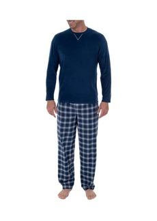 Izod Men's Microfleece Crew Neck Top Flannel Pant Set