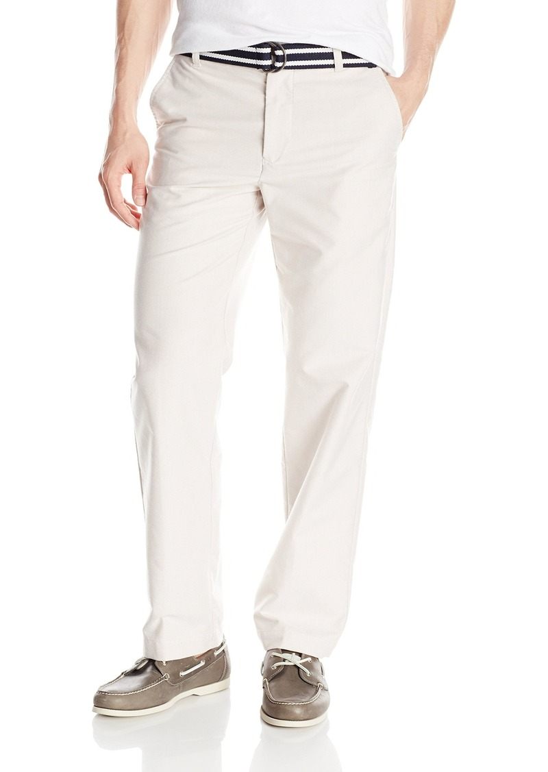 IZOD Men's Newport Belted Flat Front Solid Oxford Pant