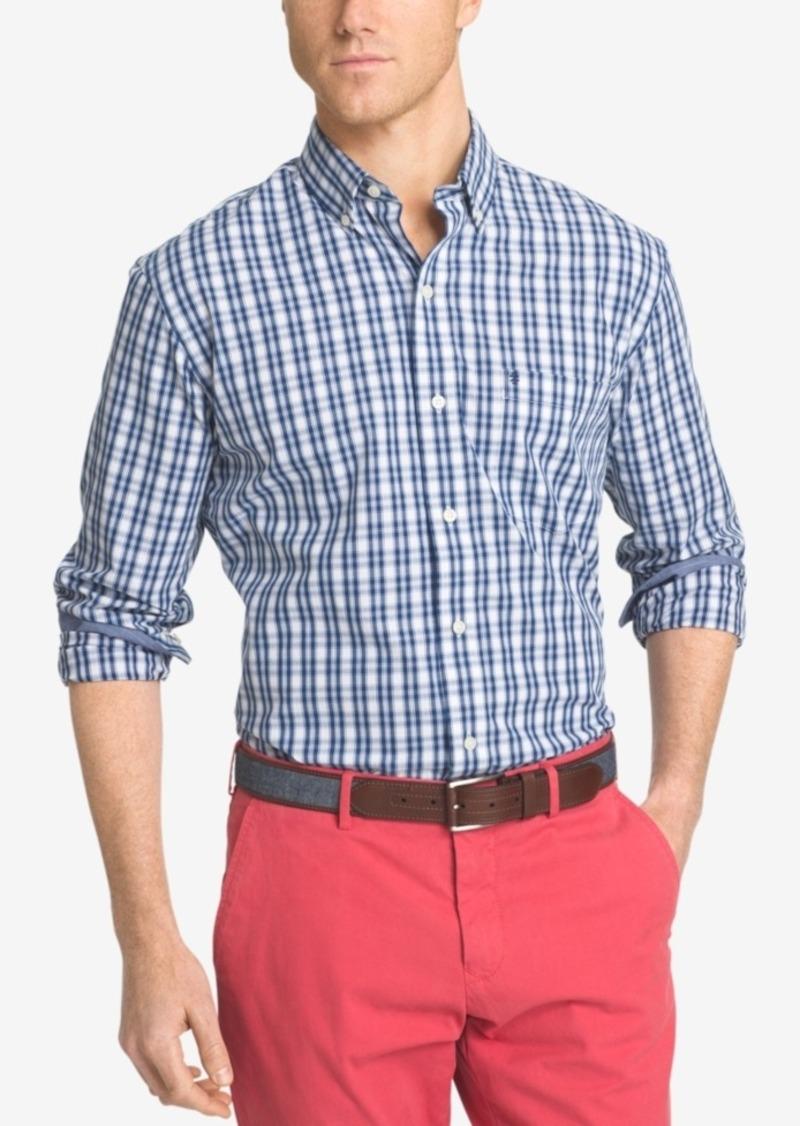 Izod Men's Non-Iron Plaid Button-Down Long-Sleeve Shirt