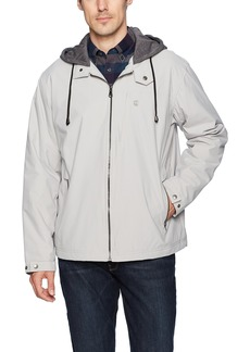 IZOD Men's Oxford Jacket With Jersey Hood and Polar Fleece Lining  S