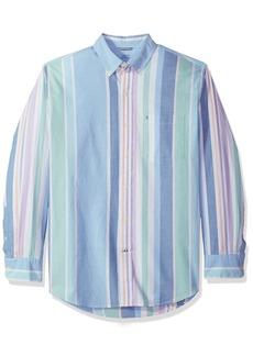 IZOD Men's Newport Oxford Fishbon Print Long Sleeve Shirt Little boy Blue 2X-Large