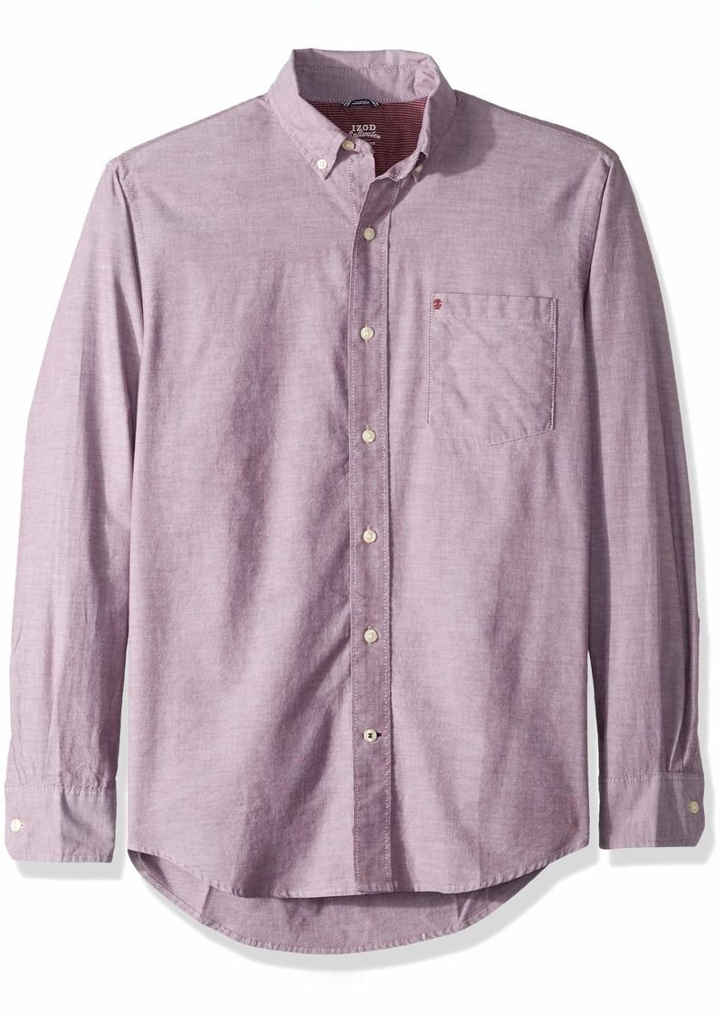 IZOD Men's Oxford Solid Long Sleeve Shirt fig