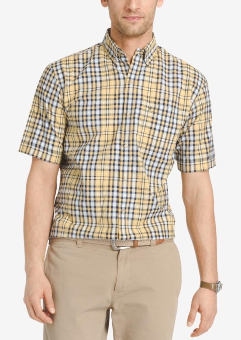Izod Men's Plaid Short-Sleeve Shirt