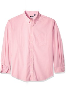 IZOD Men's Premium Essential Gingham Long Sleeve Shirt (Big Tall Slim)  Large