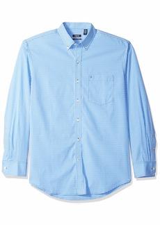 IZOD Men's Premium Essential Gingham Long Sleeve Shirt (Regular and Slim Fit) Blue Revival RP
