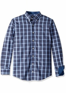 IZOD Men's Premium Essential Plaid Long Sleeve Shirt (Big Tall Slim) Peacoat 3X-Large
