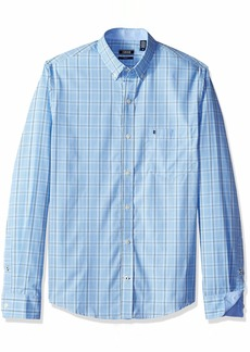 IZOD Men's Premium Performance Natural Stretch Check Long Sleeve Shirt (Regular and Slim Fit)