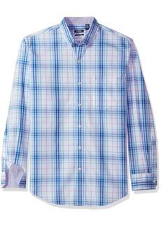 IZOD Men's Premium Performance Natural Stretch Plaid Long Sleeve Shirt (Regular and Slim Fit)