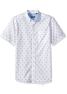 IZOD Men's Saltwater Breeze Print Short Sleeve Shirt Bright White