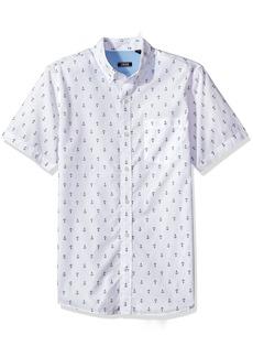 IZOD Men's Saltwater Breeze Print Short Sleeve Shirt Bright White