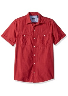 IZOD Men's Saltwater Breeze Solid Short Sleeve Shirt Salt red