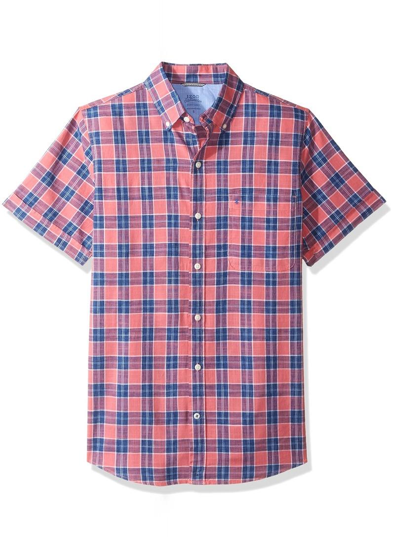 4542def1d58 Izod IZOD Men s Saltwater Dockside Chambray Plaid Short Sleeve Shirt ...