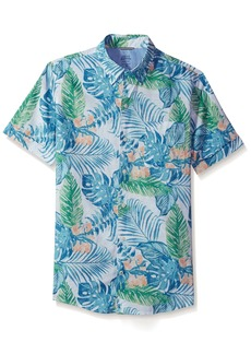 IZOD Men's Saltwater Dockside Chambray Print Short Sleeve Shirt