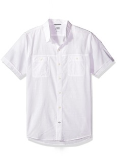 IZOD Men's Saltwater Dockside Chambray Solid Short Sleeve Shirt