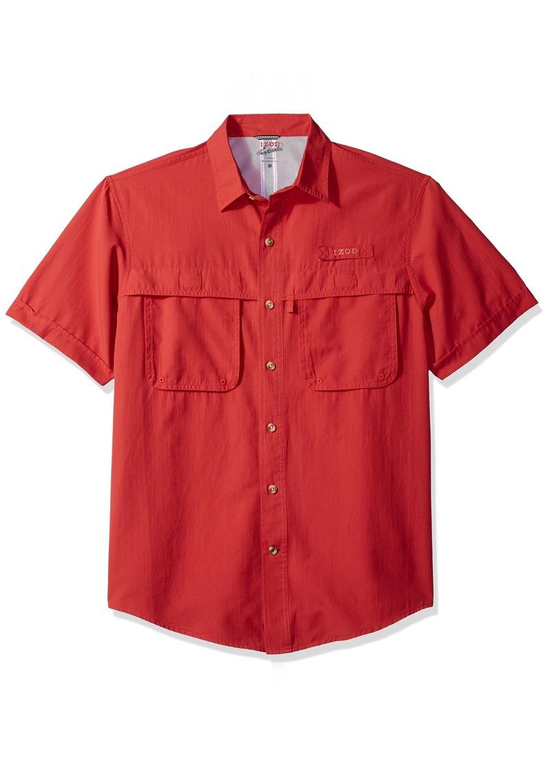 IZOD Men's Saltwater Easy Care Fishing Short Sleeve Shirt red