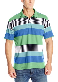 IZOD Men's Short Sleeve Chatham Clique Self Collar Stripe Polo