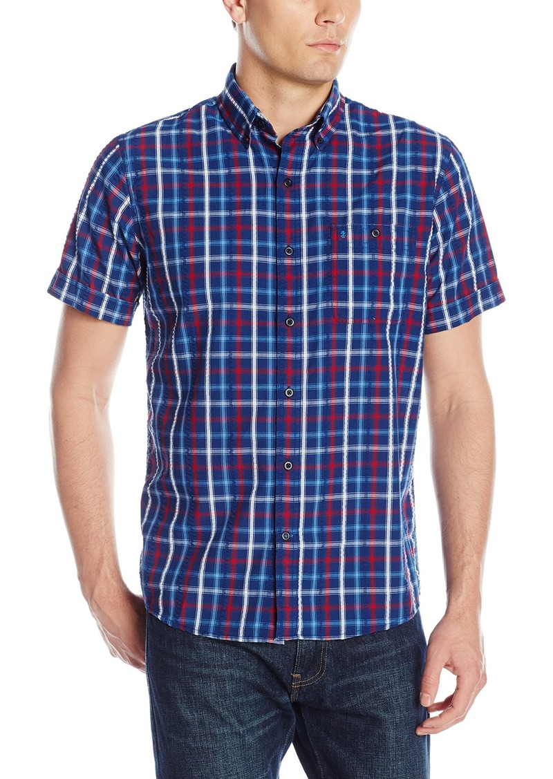 Izod izod men 39 s short sleeve sandy bay large plaid for Mens short sleeve seersucker shirts