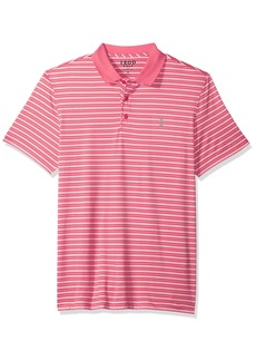 IZOD Men's Short Sleeve Textured Stripe Traditional Golf Polo