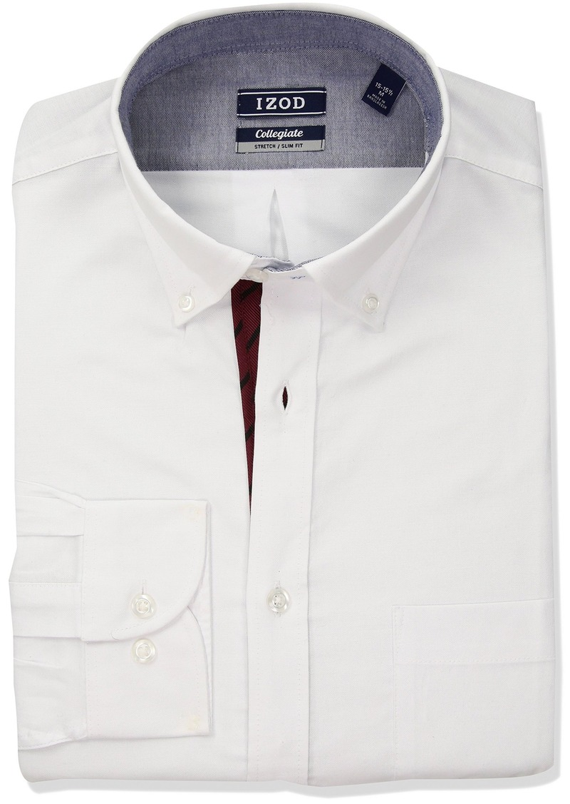 Izod Izod Mens Slim Fit Collegiate Burgundy Dress Shirt Dress Shirts