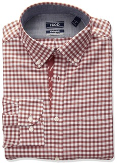 IZOD Men's Slim Fit Collegiate Check Buttondown Collar Dress Shirt