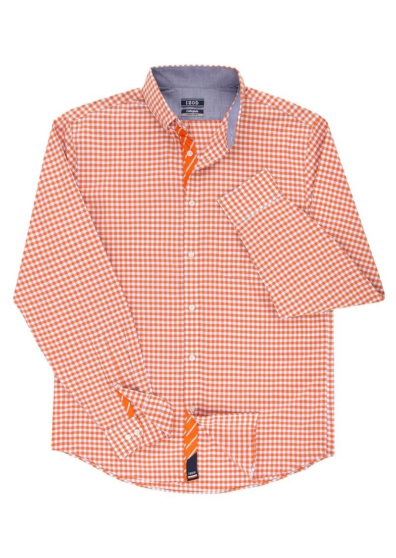 Izod Izod Mens Slim Fit Collegiate Check Buttondown Collar Dress