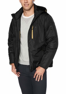 IZOD Men's Water Resistant Hooded Puffer Bomber Jacket