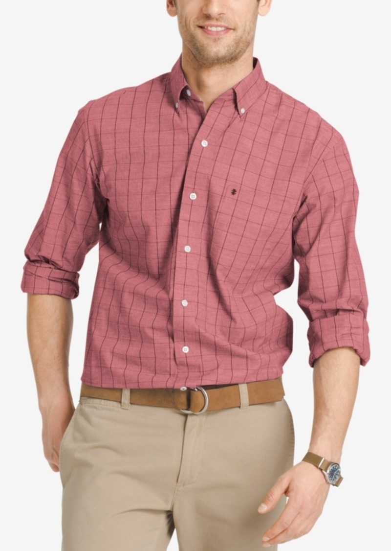 Izod Men's Windowpane Check Long-Sleeve Shirt