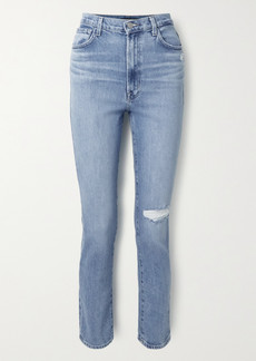 J Brand 1212 Runway Distressed High-rise Slim-leg Jeans