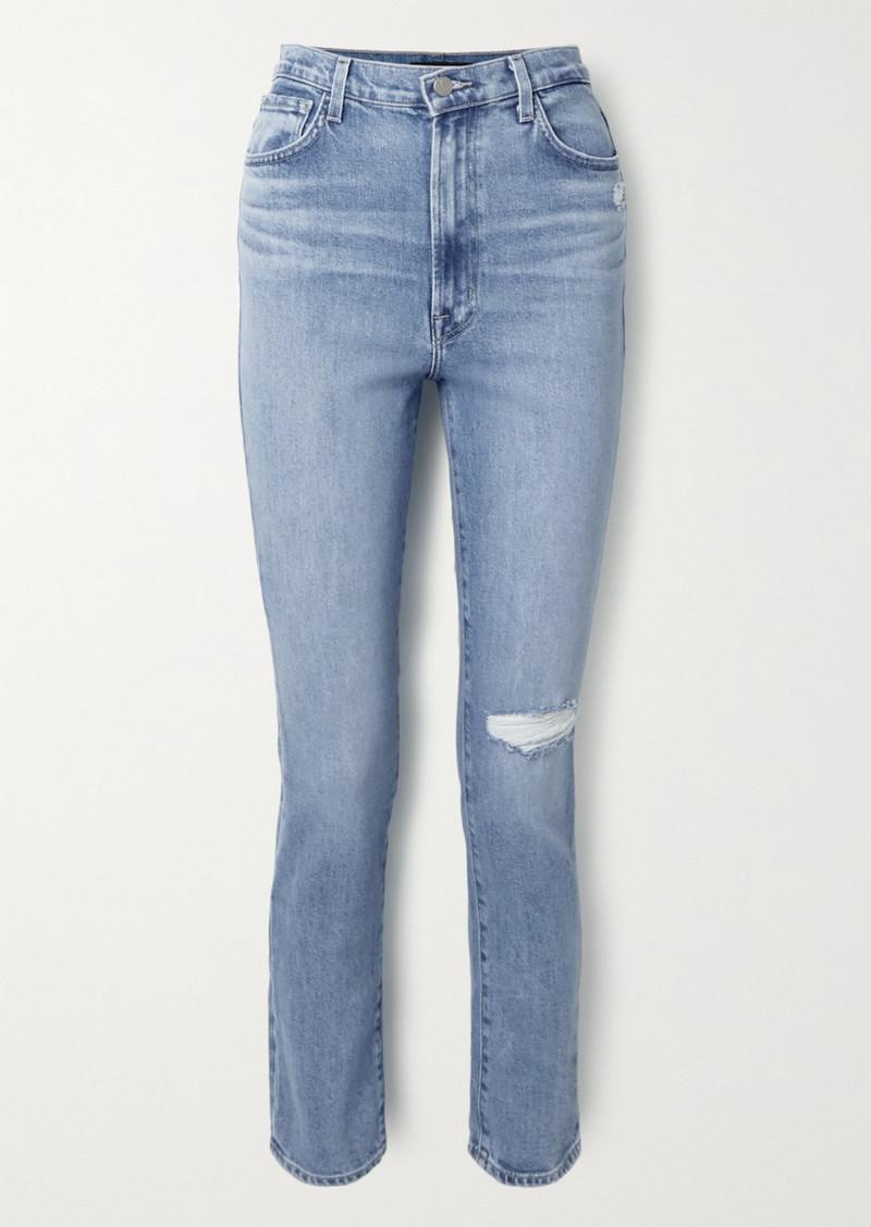 J Brand 1212 Runway Distressed High-rise Slim-leg Jeans