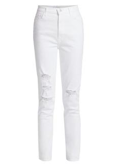 J Brand 1212 Runway High-Rise Distressed Slim-Straight Jeans