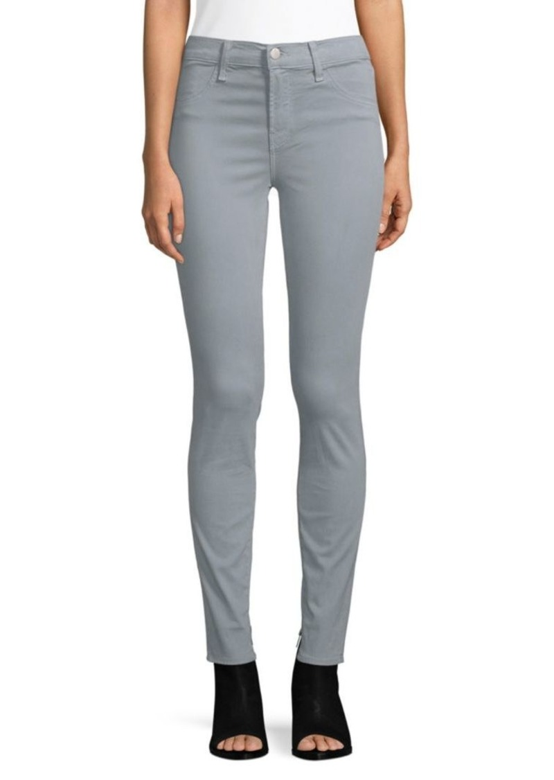 J Brand Mid-Rise Luxe Sateen Super Skinny Jeans