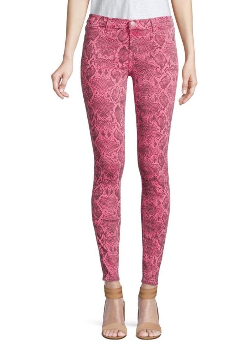 J Brand 620 Mid-Rise Super Skinny Snakeskin Print Jeans