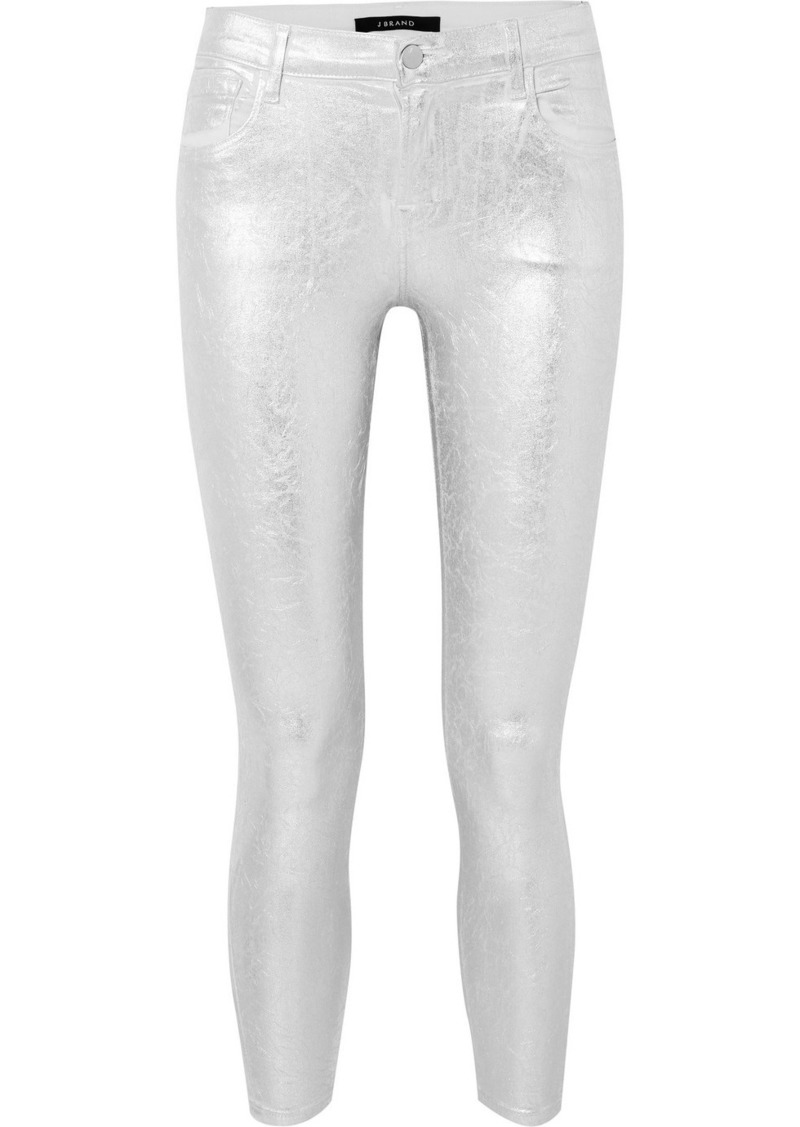 J Brand 835 Metallic Coated Cropped Mid-rise Skinny Jeans