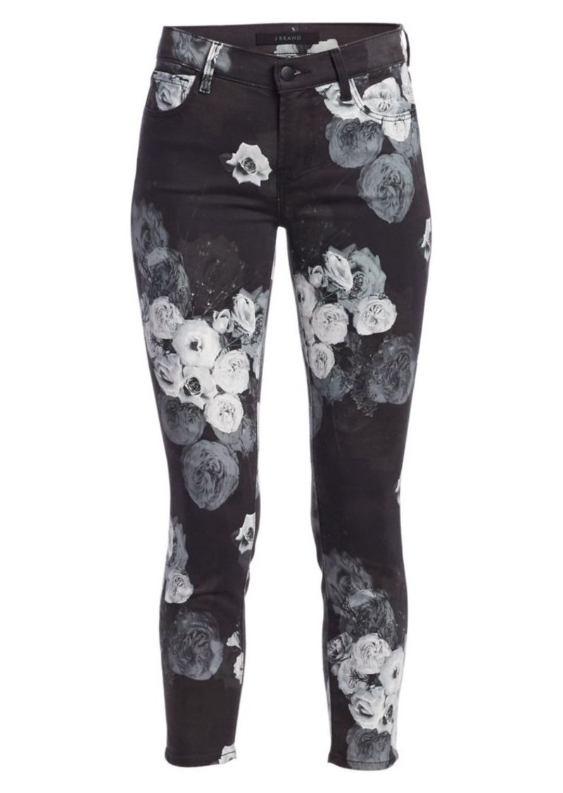 J Brand 835 Mid-Rise Floral Crop Skinny Jeans