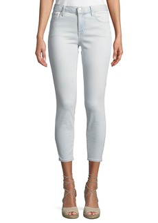 J Brand 835 Mid-Rise Skinny Capri Jeans  Light Blue Stripes