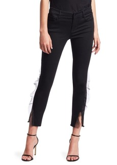 J Brand 835 Mid-Rise Organza Frayed Hem Ankle Skinny Jeans