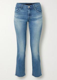 J Brand Adele Cropped Distressed Mid-rise Slim-leg Jeans