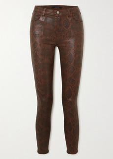 J Brand Alana Cropped Snake-effect High-rise Skinny Jeans