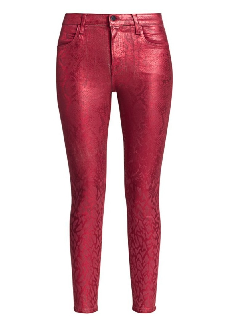 J Brand Alana High-Rise Coated Python Print Crop Skinny Jeans
