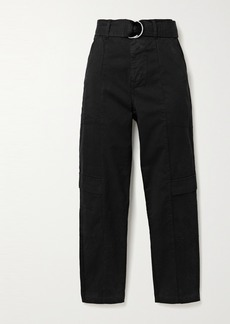 J Brand Athena Belted Cotton-blend Twill Tapered Pants